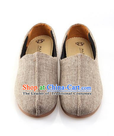 Top Grade Kung Fu Martial Arts Shoes Pulian Zen Shoes, Chinese Traditional Tai Chi Fine Linen Beige Shoes for Women for Men