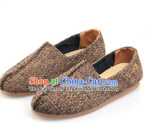 Top Grade Kung Fu Martial Arts Shoes Pulian Zen Shoes, Chinese Traditional Tai Chi Hurds Coffee Shoes for Women for Men
