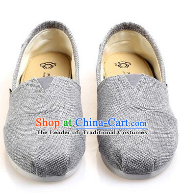 Top Grade Kung Fu Martial Arts Shoes Pulian Zen Shoes, Chinese Traditional Tai Chi Linen Light Grey Shoes Monk Shoe for Women for Men