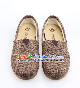 Top Grade Kung Fu Martial Arts Shoes Pulian Zen Shoes, Chinese Traditional Tai Chi Linen Brown Shoes Monk Shoe for Women for Men