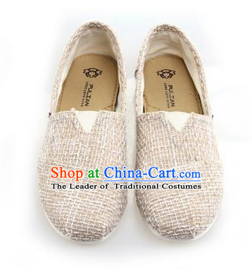 Top Grade Kung Fu Martial Arts Shoes Pulian Zen Shoes, Chinese Traditional Tai Chi Linen Beige Shoes Monk Shoe for Women for Men