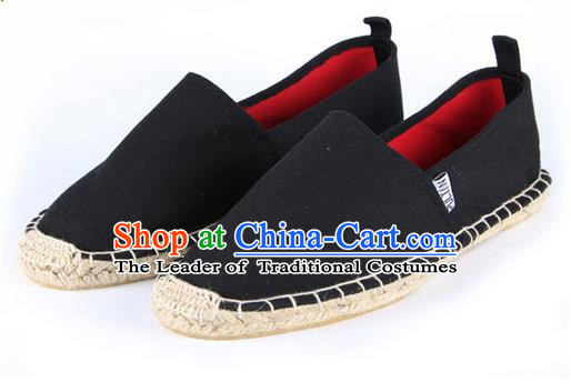 Top Grade Kung Fu Martial Arts Shoes Pulian Shoes, Chinese Traditional Tai Chi Linen Black Shoes Monk Straw Cloth Shoes for Women for Men