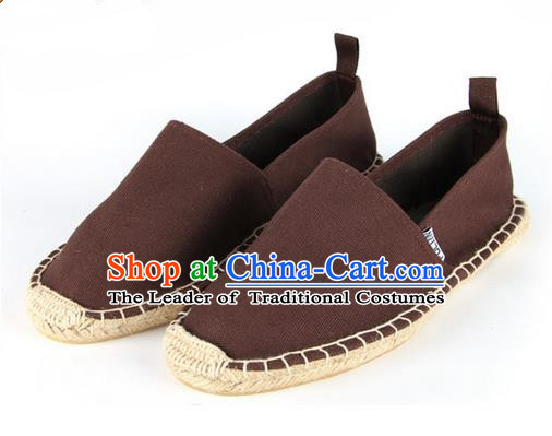 Top Grade Kung Fu Martial Arts Shoes Pulian Shoes, Chinese Traditional Tai Chi Linen Brown Shoes Monk Straw Cloth Shoes for Women for Men