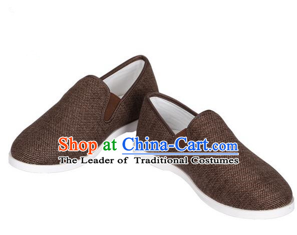 Top Grade Kung Fu Martial Arts Shoes Pulian Shoes, Chinese Traditional Tai Chi Linen Brown Shoes Cloth Zen Shoes for Women for Men