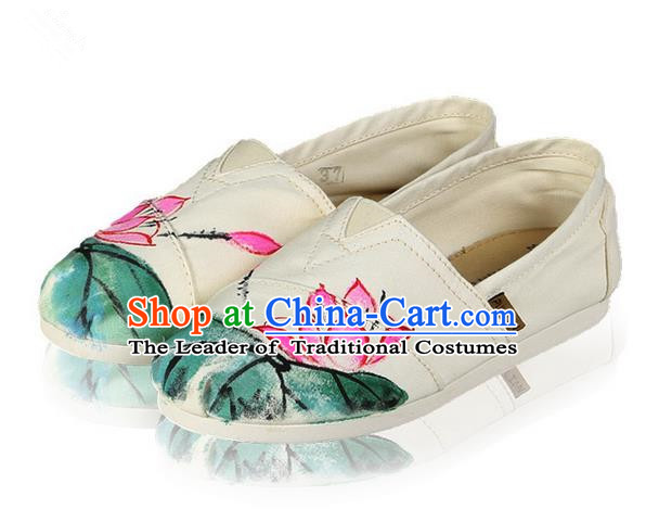 Top Grade Kung Fu Martial Arts Shoes Pulian Shoes, Chinese Traditional Tai Chi Linen Painting Pink Lotus Shoes Cloth Zen Shoes for Women