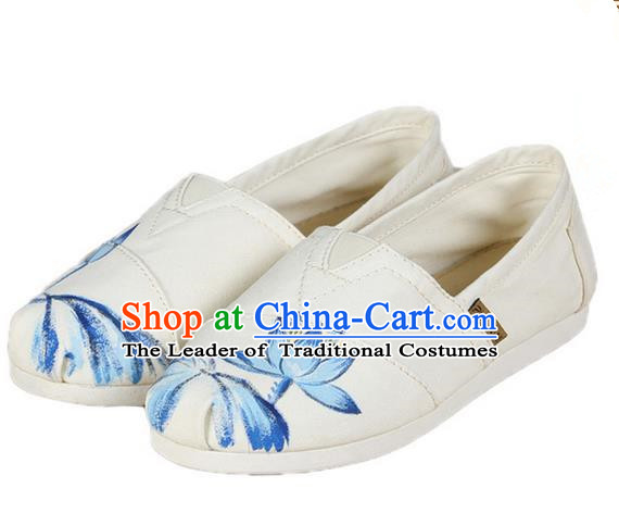 Top Grade Kung Fu Martial Arts Shoes Pulian Shoes, Chinese Traditional Tai Chi Linen Painting Blue Lotus Shoes Cloth Zen Shoes for Women