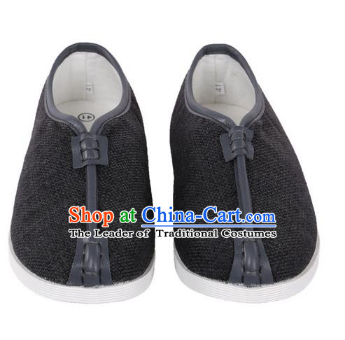 Top Grade Kung Fu Martial Arts Shoes Pulian Shoes, Chinese Traditional Tai Chi Linen Shoes Cloth Zen Deep Grey Shoes for Women for Men