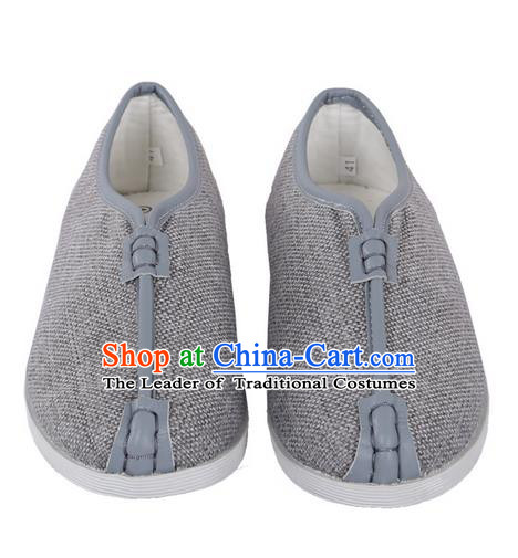 Top Grade Kung Fu Martial Arts Shoes Pulian Shoes, Chinese Traditional Tai Chi Linen Shoes Cloth Zen Grey Shoes for Women for Men