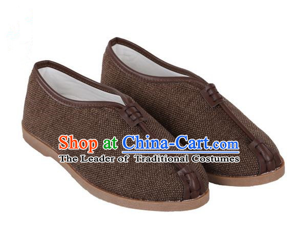 Top Grade Kung Fu Martial Arts Shoes Pulian Shoes, Chinese Traditional Tai Chi Linen Shoes Cloth Zen Brown Shoes for Women for Men