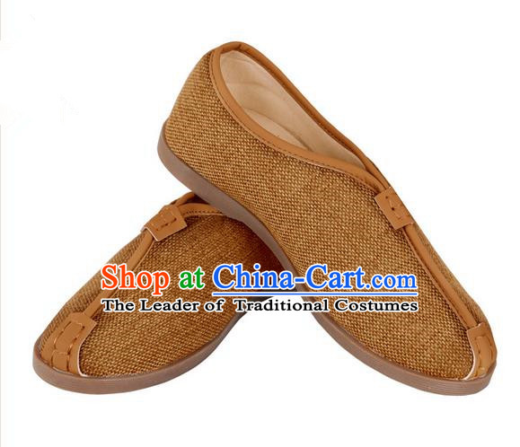 Top Grade Kung Fu Martial Arts Shoes Pulian Shoes, Chinese Traditional Tai Chi Linen Shoes Cloth Zen Khaki Shoes for Women for Men