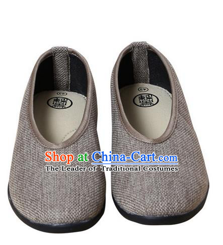 Top Grade Kung Fu Martial Arts Shoes Pulian Shoes, Chinese Traditional Tai Chi Fine Linen Cloth Zen Light Grey Shoes for Women for Men