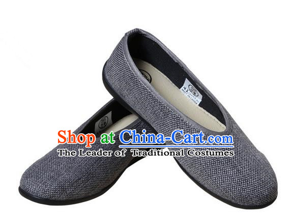 Top Grade Kung Fu Martial Arts Shoes Pulian Shoes, Chinese Traditional Tai Chi Fine Linen Cloth Zen Deep Grey Shoes for Women for Men
