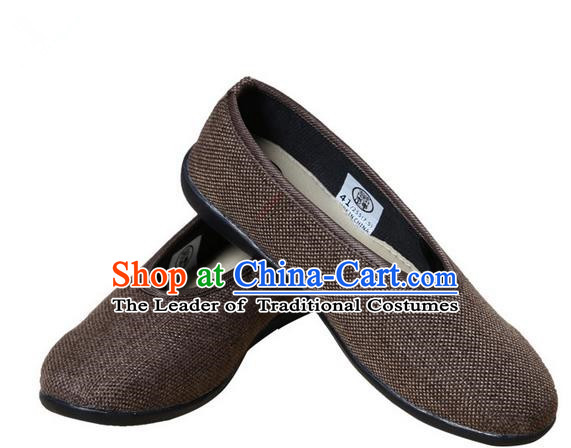 Top Grade Kung Fu Martial Arts Shoes Pulian Shoes, Chinese Traditional Tai Chi Fine Linen Cloth Zen Brown Shoes for Women for Men