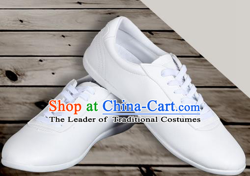 Top Grade Kung Fu Martial Arts Shoes Pulian Shoes, Chinese Traditional Tai Chi Imitation Leather White Shoes for Women for Men
