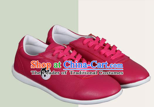 Top Grade Kung Fu Martial Arts Shoes Pulian Shoes, Chinese Traditional Tai Chi Imitation Leather Red Shoes for Women for Men