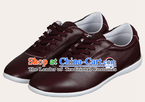 Top Grade Kung Fu Martial Arts Shoes Pulian Shoes, Chinese Traditional Tai Chi Imitation Leather Brown Shoes for Women for Men