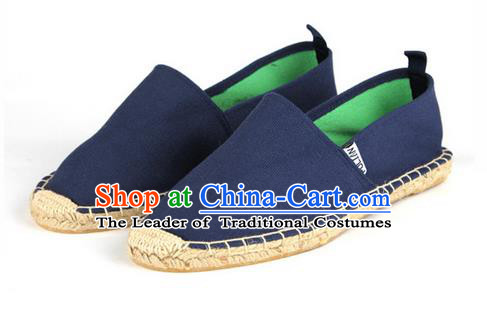 Top Grade Kung Fu Martial Arts Shoes Pulian Shoes, Chinese Traditional Tai Chi Linen Blue Shoes Monk Straw Cloth Shoes for Women for Men