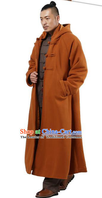 Top Kung Fu Costume Martial Arts Ginger Cloak Pulian Clothing, Tai Ji Mantle Gongfu Shaolin Wushu Tai Chi Meditation Plated Buttons Cape for Women for Men