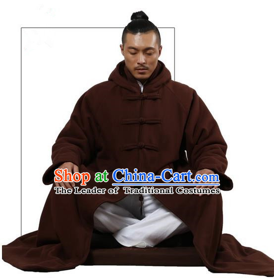 Top Kung Fu Costume Martial Arts Brownness Cloak Pulian Clothing, Tai Ji Mantle Gongfu Shaolin Wushu Tai Chi Meditation Plated Buttons Cape for Women for Men