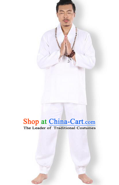 Top Grade Kung Fu Costume Martial Arts Linen Meditation Suits Pulian Zen Clothing, Training Costume Tai Ji White Uniforms Gongfu Shaolin Wushu Tai Chi Clothing for Men