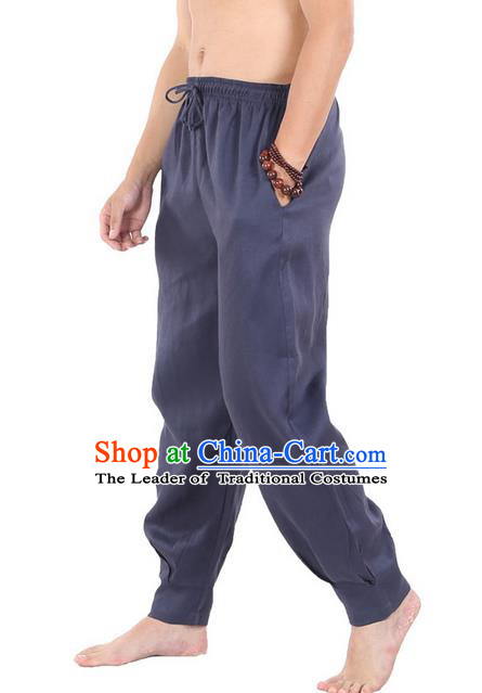 Top Grade Kung Fu Costume Martial Arts Navy Linen Pants Pulian Zen Clothing, Training Bloomers Gongfu Trousers Shaolin Wushu Tai Chi Meditation Plus Fours for Men
