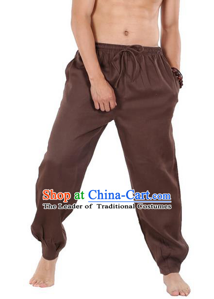 Top Grade Kung Fu Costume Martial Arts Brown Linen Pants Pulian Zen Clothing, Training Bloomers Gongfu Trousers Shaolin Wushu Tai Chi Meditation Plus Fours for Men