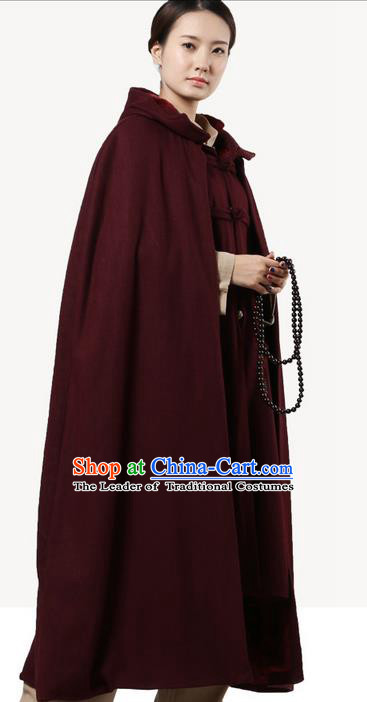 Top Kung Fu Costume Martial Arts Wine Red Woolen Cloak Pulian Clothing, Tai Ji Mantle Gongfu Shaolin Wushu Tai Chi Meditation Cape for Women for Men