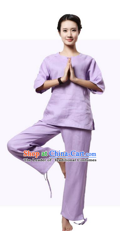 Top Grade Kung Fu Costume Martial Arts Purple Linen Suits Pulian Zen Clothing, Training Costume Tai Ji Meditation Uniforms Gongfu Shaolin Wushu Tai Chi Plated Buttons Clothing for Women