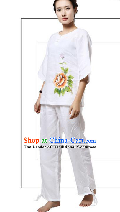 Top Grade Kung Fu Costume Martial Arts White Painting Peony Linen Suits Pulian Zen Clothing, Training Costume Tai Ji Meditation Uniforms Gongfu Shaolin Wushu Tai Chi Plated Buttons Clothing for Women