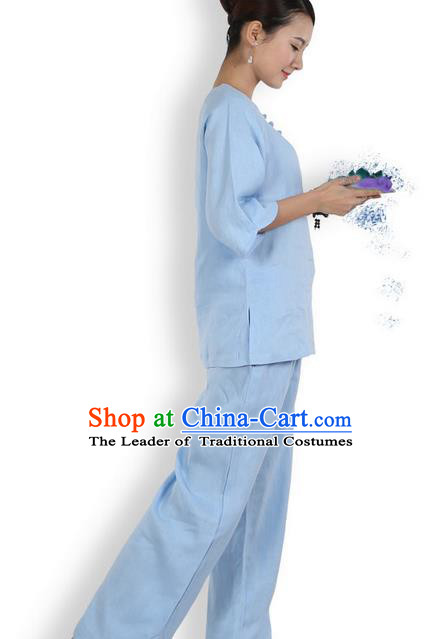Top Grade Kung Fu Costume Martial Arts Blue Linen Suits Pulian Zen Clothing, Training Costume Tai Ji Meditation Uniforms Gongfu Shaolin Wushu Tai Chi Plated Buttons Clothing for Women