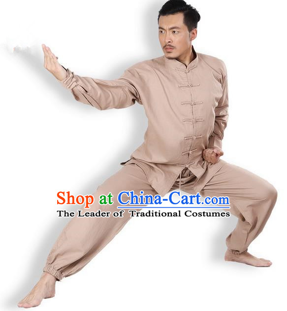 Top Grade Kung Fu Costume Martial Arts Khaki Linen Suits Pulian Zen Clothing, Training Costume Tai Ji Meditation Uniforms Gongfu Wushu Tai Chi Plated Buttons Clothing for Men
