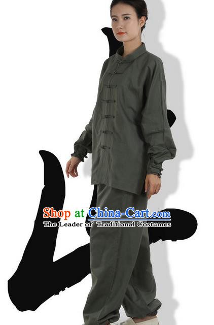 Top Grade Kung Fu Costume Martial Arts Army Green Linen Suits Pulian Zen Clothing, Training Costume Tai Ji Meditation Uniforms Gongfu Wushu Tai Chi Plated Buttons Clothing for Women