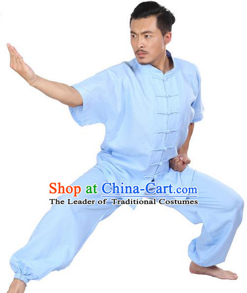 Top Grade Kung Fu Costume Martial Arts Light Blue Linen Suits Pulian Zen Clothing, Training Costume Tai Ji Meditation Uniforms Gongfu Wushu Tai Chi Short Sleeve Clothing for Men