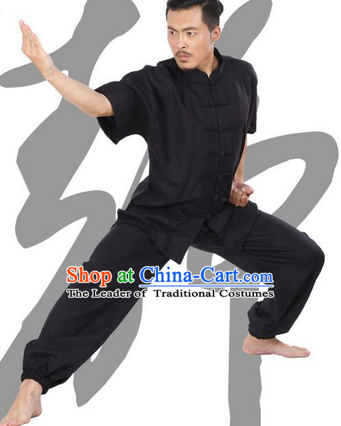 Top Grade Kung Fu Costume Martial Arts Black Linen Suits Pulian Zen Clothing, Training Costume Tai Ji Meditation Uniforms Gongfu Wushu Tai Chi Short Sleeve Clothing for Men