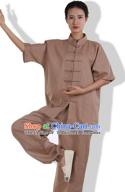Top Grade Kung Fu Costume Martial Arts Khaki Linen Suits Pulian Zen Clothing, Training Costume Tai Ji Meditation Uniforms Gongfu Wushu Tai Chi Short Sleeve Clothing for Women