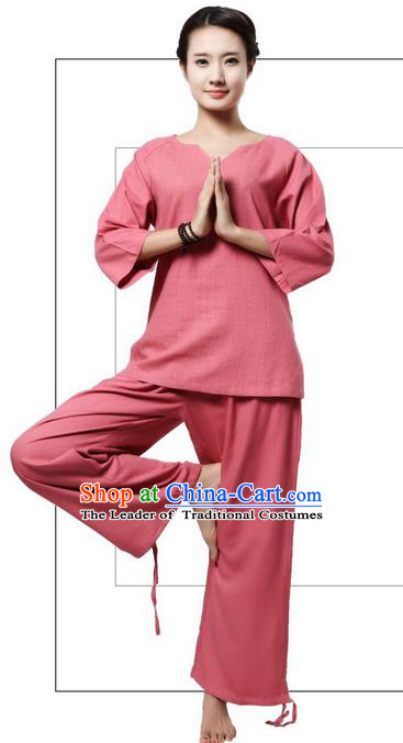 Top Grade Kung Fu Costume Martial Arts Rose Linen Suits Pulian Clothing, Zen Costume Tai Ji Meditation Uniforms Wushu Tai Chi Short Sleeve Clothing for Women