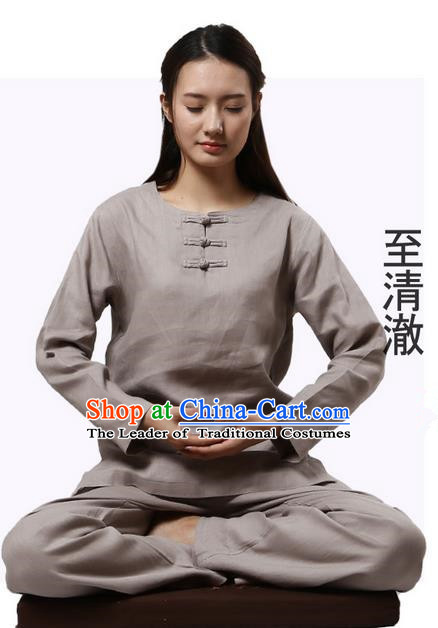 Top Grade Kung Fu Costume Martial Arts Grey Linen Suits Pulian Clothing, Zen Costume Tai Ji Meditation Uniforms Wushu Tai Chi Long Sleeve Clothing for Women