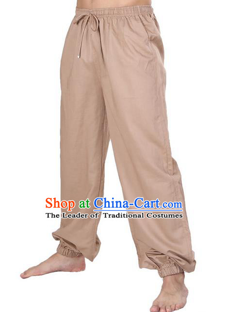 Top Grade Kung Fu Costume Martial Arts Khaki Linen Pants Pulian Zen Clothing, Training Bloomers Gongfu Meditation Trousers Shaolin Wushu Tai Chi Plus Fours for Men