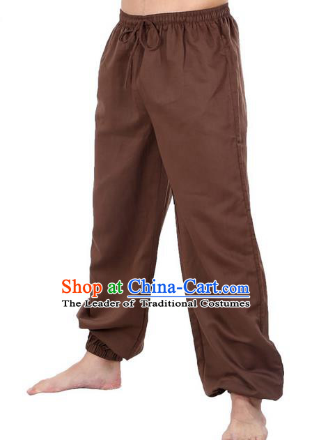 Top Grade Kung Fu Costume Martial Arts Coffee Linen Pants Pulian Zen Clothing, Training Bloomers Gongfu Meditation Trousers Shaolin Wushu Tai Chi Plus Fours for Men