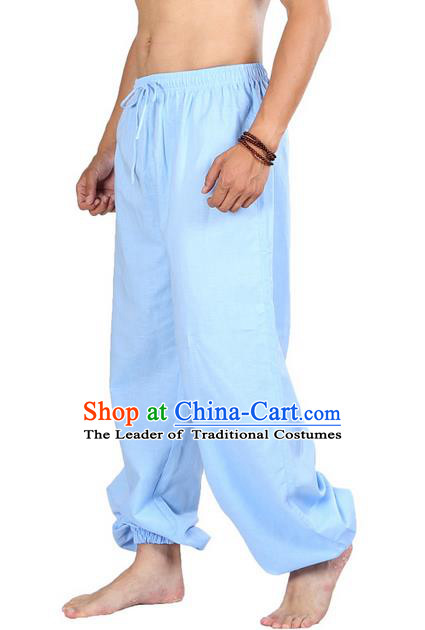 Top Grade Kung Fu Costume Martial Arts Blue Linen Pants Pulian Zen Clothing, Training Bloomers Gongfu Meditation Trousers Shaolin Wushu Tai Chi Plus Fours for Men