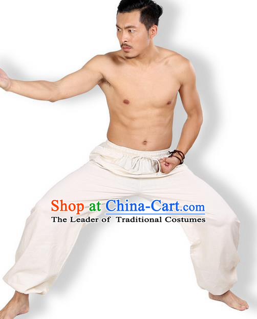 Top Grade Kung Fu Costume Martial Arts Beige Linen Pants Pulian Zen Clothing, Training Bloomers Gongfu Meditation Trousers Shaolin Wushu Tai Chi Plus Fours for Men