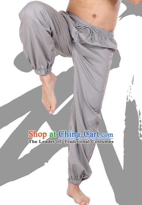 Top Grade Kung Fu Costume Martial Arts Grey Linen Pants Pulian Zen Clothing, Training Bloomers Gongfu Meditation Trousers Shaolin Wushu Tai Chi Plus Fours for Men