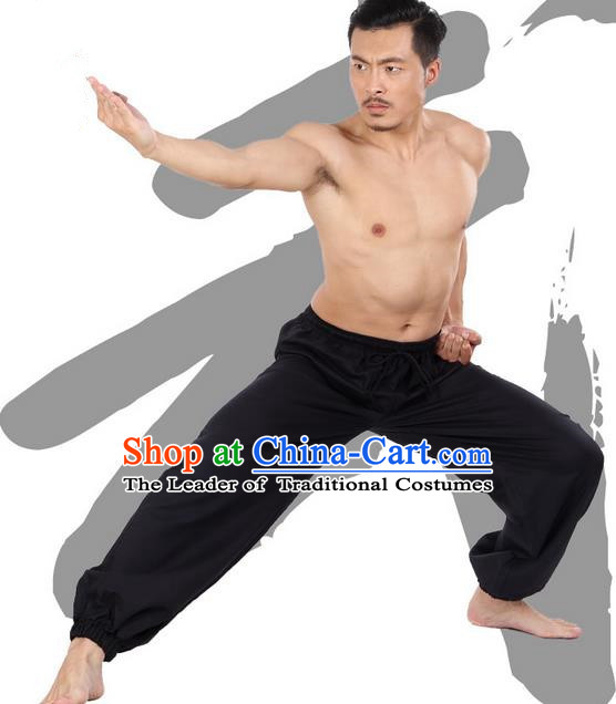 Top Grade Kung Fu Costume Martial Arts Black Linen Pants Pulian Zen Clothing, Training Bloomers Gongfu Meditation Trousers Shaolin Wushu Tai Chi Plus Fours for Men