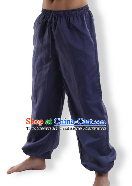 Top Grade Kung Fu Costume Martial Arts Navy Linen Pants Pulian Zen Clothing, Training Bloomers Gongfu Meditation Trousers Shaolin Wushu Tai Chi Plus Fours for Men