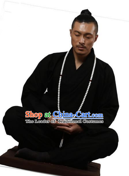 Traditional Chinese Kung Fu Costume Martial Arts Black Linen Suits Pulian Clothing, Training Costume Tai Ji Meditation Uniforms Gongfu Wushu Tai Chi Clothing for Men
