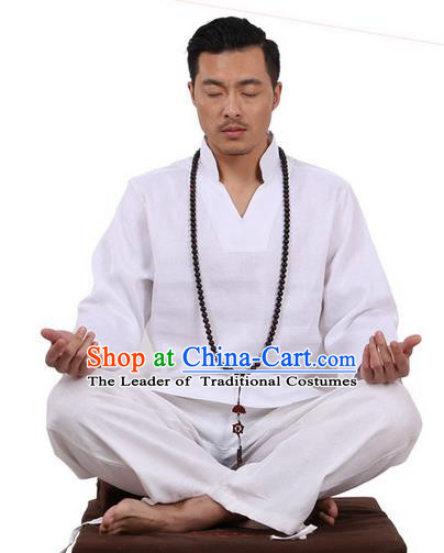 Traditional Chinese Kung Fu Costume Martial Arts White Linen Training Suits Pulian Clothing, Tai Ji Meditation Uniforms Gongfu Wushu Tai Chi Clothing for Men