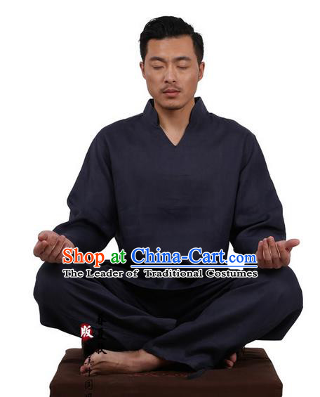 Traditional Chinese Kung Fu Costume Martial Arts Navy Linen Training Suits Pulian Clothing, Tai Ji Meditation Uniforms Gongfu Wushu Tai Chi Clothing for Men