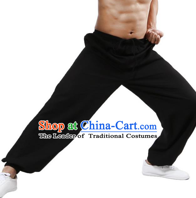 Top Grade Kung Fu Costume Martial Arts Black Linen Pants Pulian Training Bloomers, Gongfu Trousers Shaolin Wushu Tai Chi Plus Fours for Men