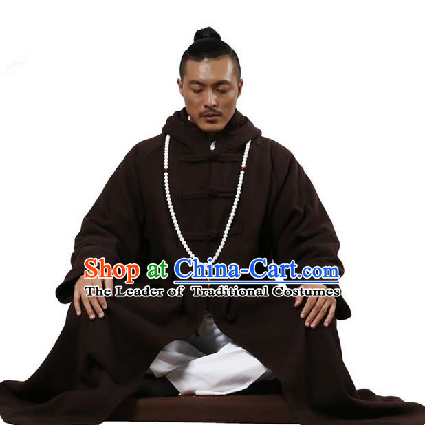 Top Grade Kung Fu Costume Martial Arts Woolen Pulian Clothing Coffee Long Coat, Gongfu Shaolin Wushu Tai Chi Tang Suit Meditation Dust Coat for Women for Men