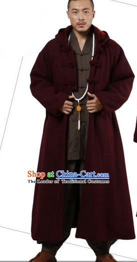 Top Grade Kung Fu Costume Martial Arts Woolen Pulian Clothing Wine Red Long Coat, Gongfu Shaolin Wushu Tai Chi Tang Suit Meditation Dust Coat for Women for Men